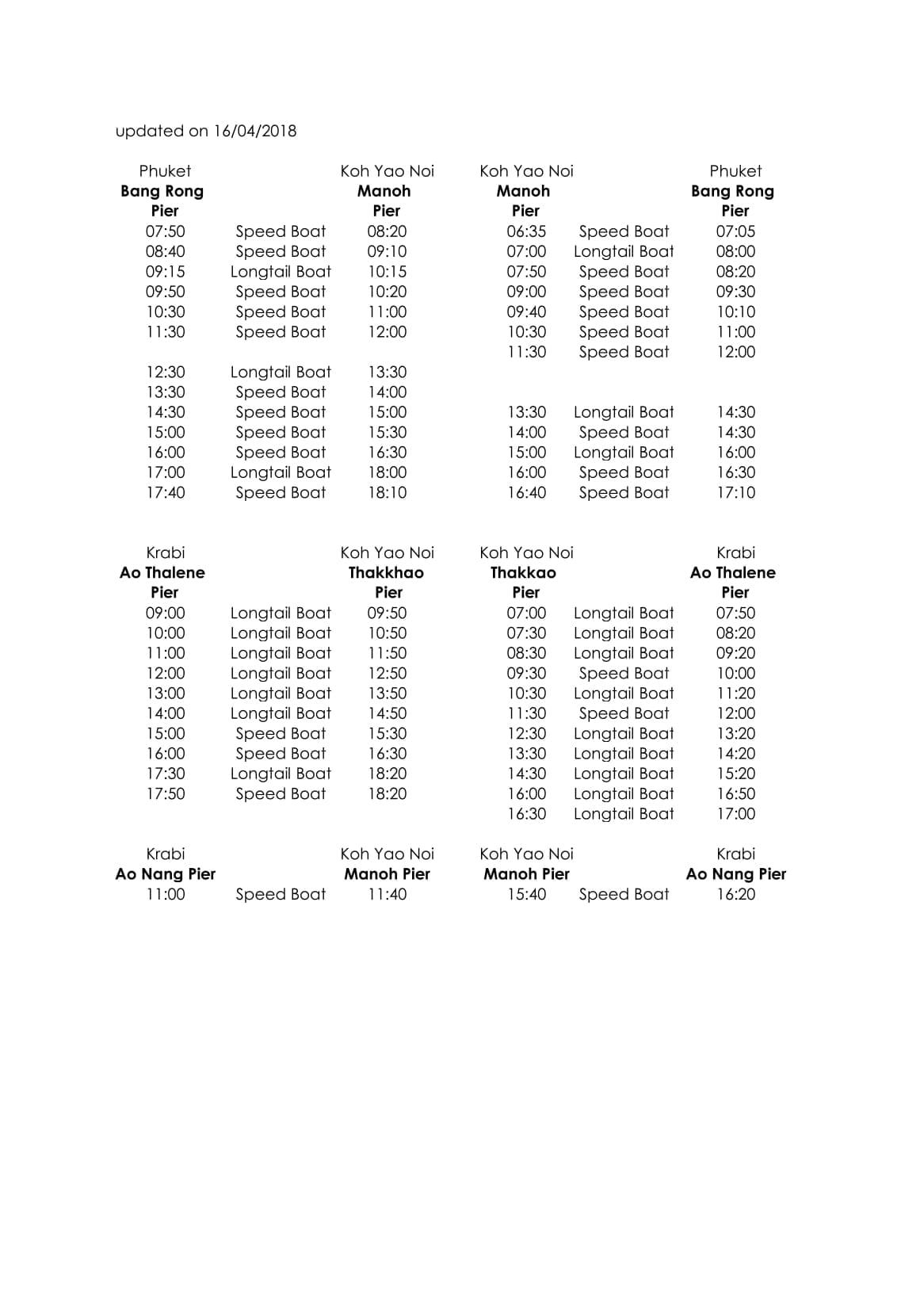 Koh Yao Noi Boat schedule